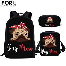 <b>FORUDESIGNS</b> Kids <b>Black Backpack</b> 3Pcs/Set Cartoon Cute Pug ...