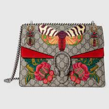 gucci bags fall 2017. gucci beige/ebony moth embroidered gg supreme dionysus medium shoulder bag bags fall 2017 p