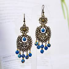 large chandelier earrings dangle blue beaded earringsa jewelry