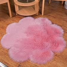 chitone flower mat faux fur sheepskin rugs soft gy area rug home decorative bedroom fluffy carpet rug diameter 5 feet pink