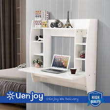 wall mounted office desk. Floating Wall Mounted Office Computer Desk Home Table With Storage White