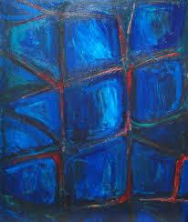 prison window abstract interior theme acrylic painting dark blue color symbolism interior
