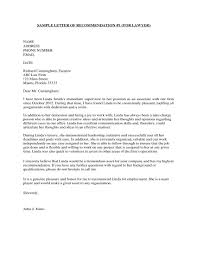 Employee Recommendation Letter Sample Reference Free From