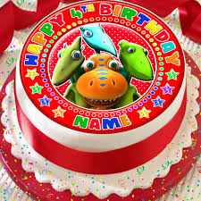 Dinosaur Train Personalised Happy Birthday 75 Inch Precut Edible
