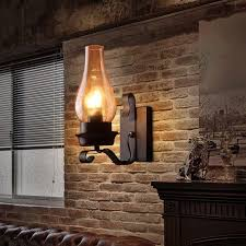 interior wall sconces lighting. vintage rustic single light metal wall sconce with glass chimney shade indoor sconces interior lighting