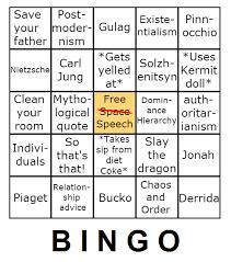 Jordan Peterson Bingo Chart Imgur