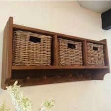 Storage Coat Rack With Baskets Custom Sustainable Furniture UK Reclaimed Teak Coat Hook Storage Unit