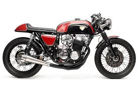 stunning red on black honda cb750 cafe racer