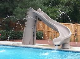 alluring grey fiberglass swimming pool slides with stair
