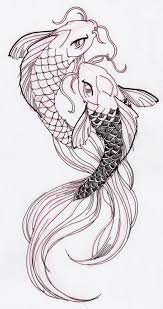 koi fish drawing. Simple Koi Two Cool Koi Fish Ink Drawing Intended R
