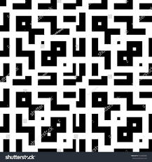 Design Repeat Wallpaper Symbols Repeated Black Figures Symbols On White Stock Vector