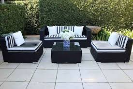 5 ways outdoor wicker lounge setting black with b w stripe fabric