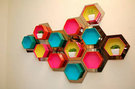 0 diy bright multicolored handmade hexagonal honeycomb shelving