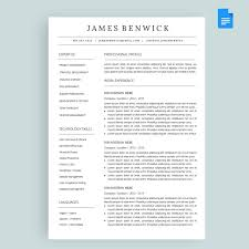Google Doc Resume Template Modern Benwick Resume Cv Template Package For Google Docs