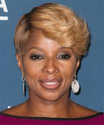 mary j blige short straight formal hairstyle dark blonde honey hair color