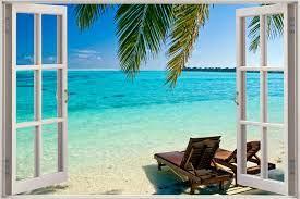 Cheap 3D Window view Exotic Beach sea ...