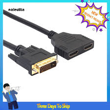 Cáp chuyển đổi 2 cổng HDMI sang DVI 24+1 2 chiều tiện dụng