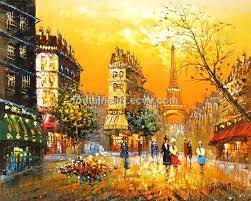 paris street oil painting on canvas fontaine art hand made