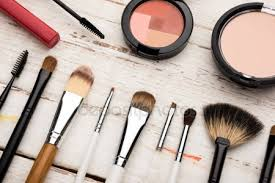 brushes and decorative cosmetics stock image
