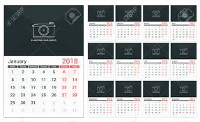 2018 Calendar Template A3 Size Place For Your Photo 12 Pages