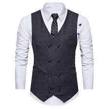 Ilxhd Weeding Tweed Check Double Breasted Waistcoat Retro