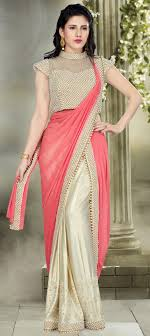 Designer Stitched Saree Lycra Designer Readymade Saree In Red And Maroon With Border Work