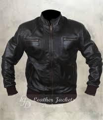 mens black biker style er ashwood leather jacket front view