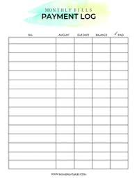 bill organizer template free printable monthly bill payment log shared by pinterest com