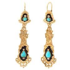 antique french enamel turquoise diamond chandelier earrings for