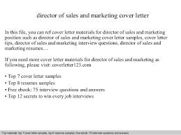 Cover Letter For Marketing Jobs Director Of Sales And Marketing Cover Letter