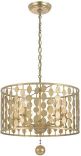 crystorama 545 ga layla modern antique gold drum pendant light for gold drum chandelier