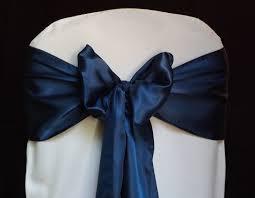 navy blue satin chair cover sash bow wedding banquet