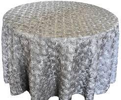 120 round satin rosette tablecloth silver 56540 1pc pk