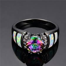 new fashion big rainbow opal crystal cz ring 10kt black gold filled vine jewelry wedding rings for women bague femme rb0273 in wedding bands from