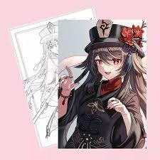 Tranh tô màu HUTAO GENSHIN IMPACT bản thảo phác họa game anime chibi xinh  xắn