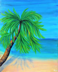tropical palm tree painting 16x20