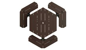 table top view. 4\u0027 Brown Top/Black Frame Recycled Plastic Picnic Table - Top View A