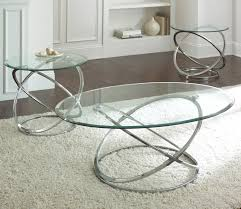 chrome tail and end tables set with glass