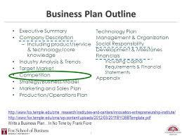 Operation Plan Outline Business Plan Outline Executive Summary Company Description Ppt