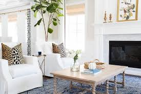 white living room with indigo blue rug