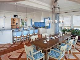 blue coastal kitchen with wood inlay floor