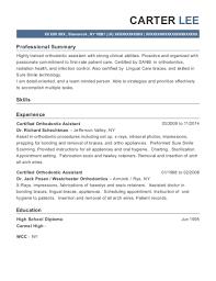 Best Certified Orthodontic Assistant Resumes Resumehelp