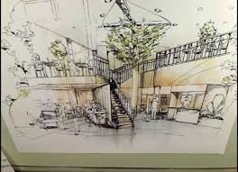architecture drawing. Plain Architecture Interior Perspective Rendering With Markers  Architecture Drawing Tutorial Intended