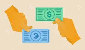 Money Bill Template Hand Giving Money Bill Template Vector Illustration Royalty Free