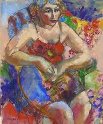 in the garden figurative woman female figuration women art contemporary figure painter figure study flowers seated woman