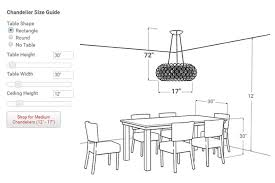 dining room chandelier height the correct hang amazing size for