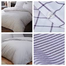 details about 100 cotton 200 thread count navy white duvet cover sets checked or striped