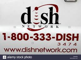 stock photo the dish network logo on the side of installers truck is seen in denver march 2 2009 satellite tv provider dish network corp posted its dish network installers