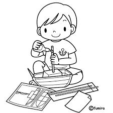 夏休みの工作ぬりえ 子供と動物のイラスト屋さん わたなべふみ