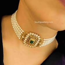 Polki Pendant Set Designs Simple Pearl Choker With Polki Pendant Jewellery Designs